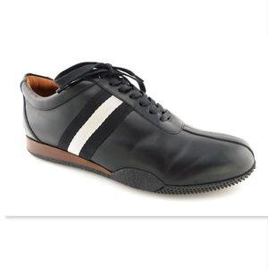 BALLY Black Leather Logo Web Sneakers 9US/8UK